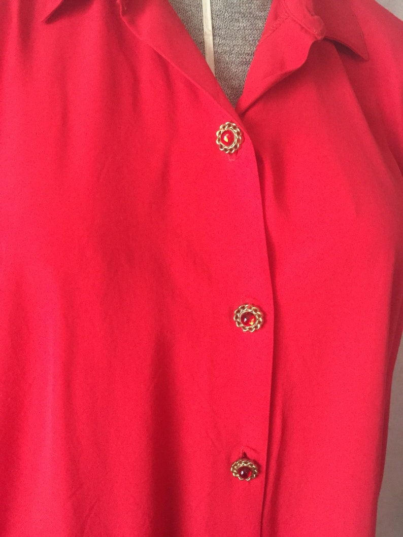 red blouse red clothing womens clothing vintage clothing vintage blouse Vintage red blouse