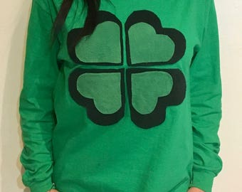 Lucky Shamrock Long sleeve Shirt Unisex | St Patricks Day Shirt | St Pattys Day Shirt - Funny Tshirts Lucky 4 Leaf Clover