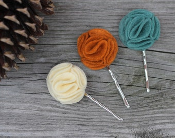 Felt Flower Pom Pom Bobby Pins in Autumn Fall Colors Ivory, Orange, Teal