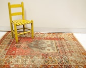Bright Cheerful Vintage Turkish Rug