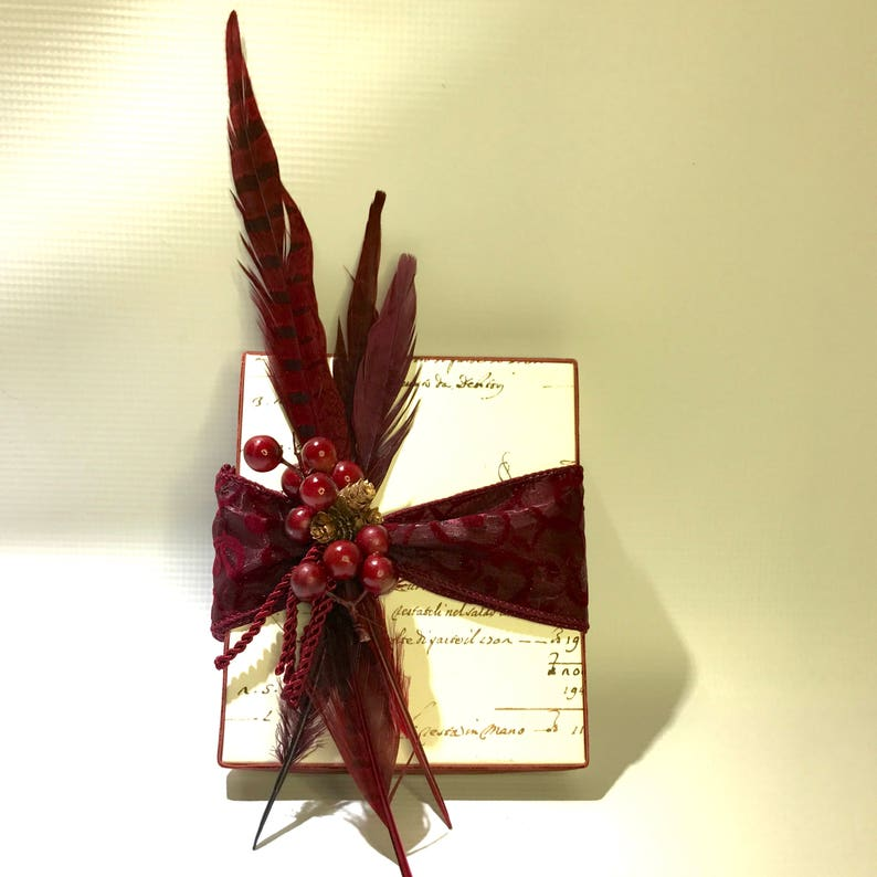 Gift Box Wrapping for Men, Gift Ideas For Him, Burgundy Gift Wrapping,  Feathers Gift Box, Wrap Christmas Gift Ideas, Birthday Gift Ideas