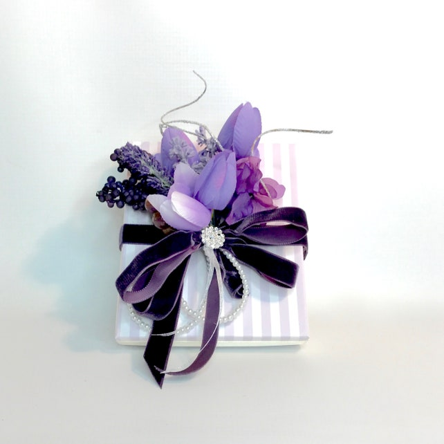 Purple Velvet Little Girl Gift Box Favors Jewelry Gift Cards Mothers Day Bridesmaids, Handmade, Decorative Boxes, Gift Certificates, Birth