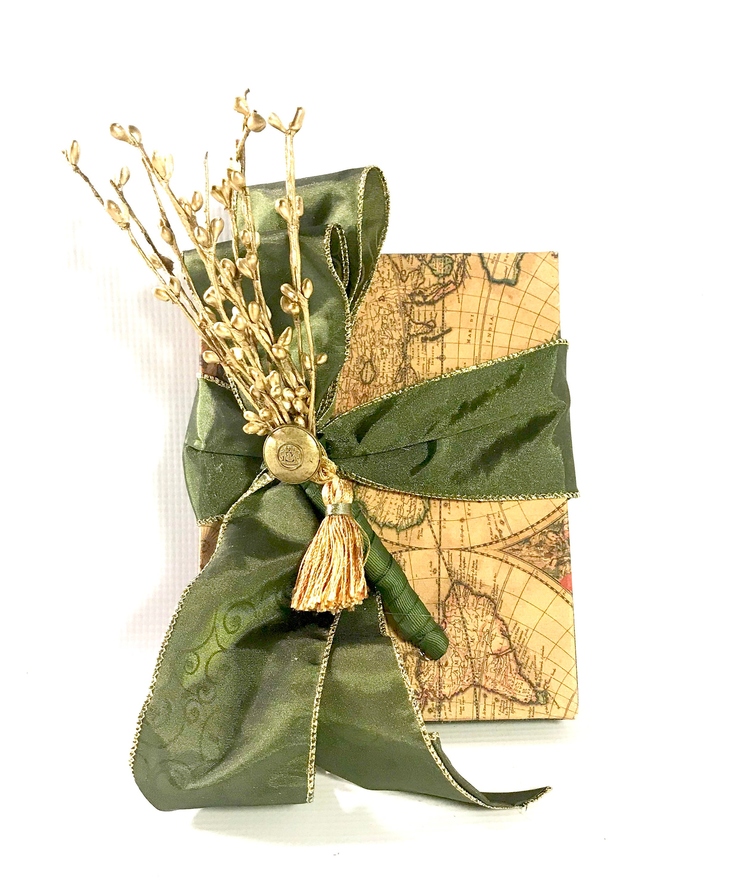 Gift Box, For Him Old World Map Green Gold Gift Box Wrap Boxes Christmas  Gift Jewelry Gift Father Ideas, Wedding Party Gifts