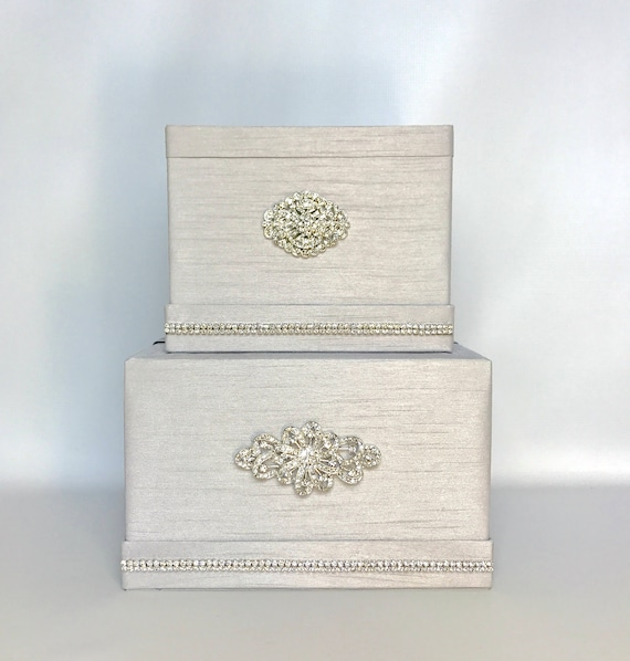 Wedding Card Box with Lock Platinum Silver Classic Two Tier | Etsy