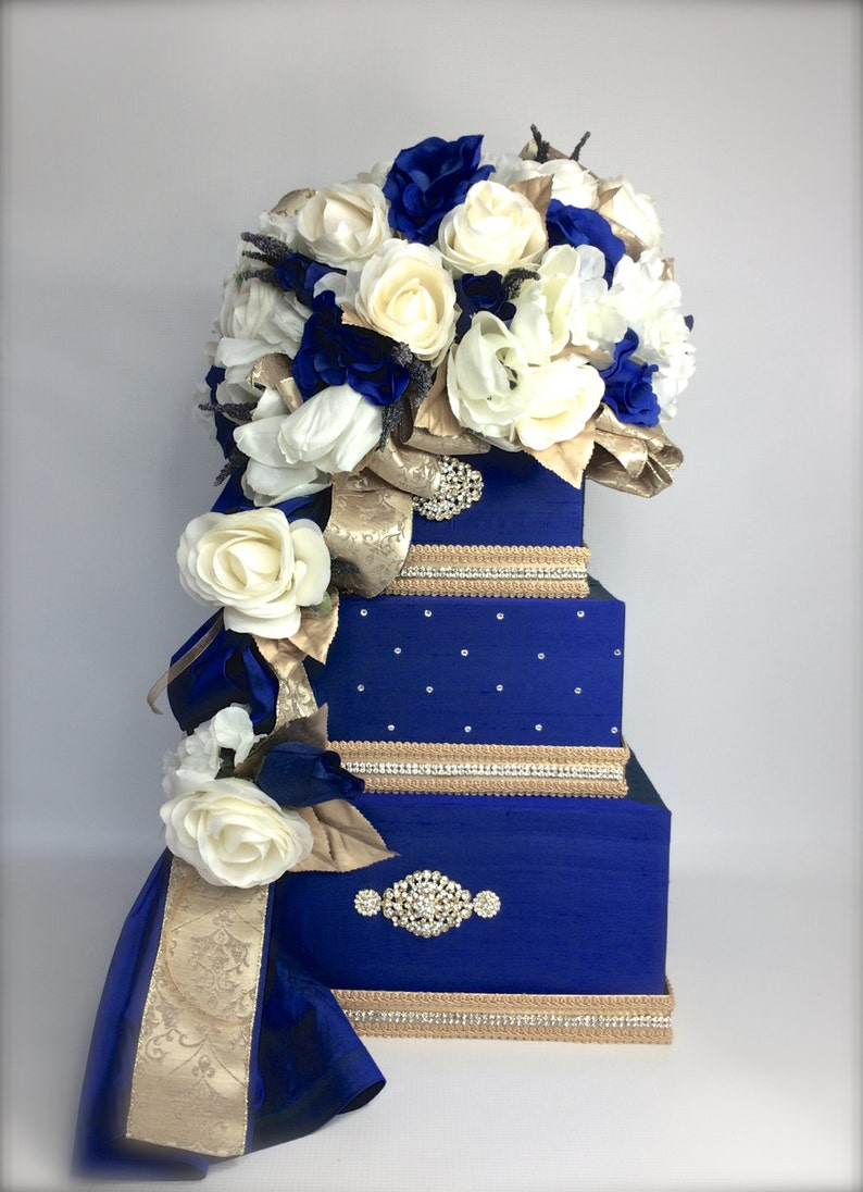 Wedding Card Box With Lock Royal Blue Hawaiian Gold And Etsy