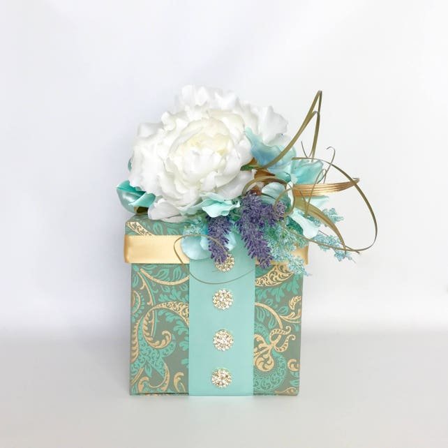 Gift Box Paisley Peony Gold Teal Gift Certificate 6 Inch Cube Gift