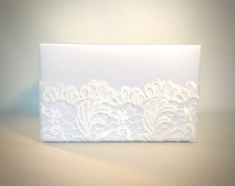 Lace Program Box, Amenities Box, Floral Arrangement Cover Box White, Ivory, Handmade, Custom Made, Elegantly.