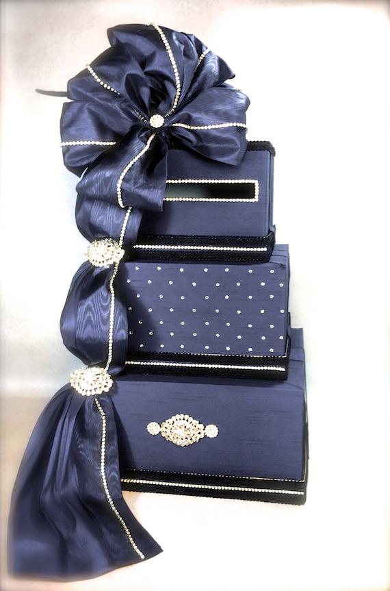 Wedding Card Box With Lock Navy Blue Wedding Card Box Gift Etsy