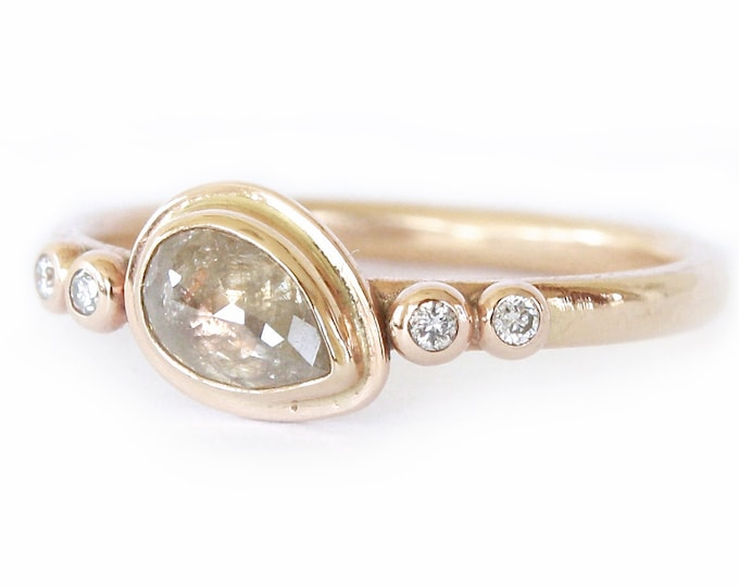 Diamond Ring- Rose Cut Diamond Slice in 14K Gold- Engagement Ring