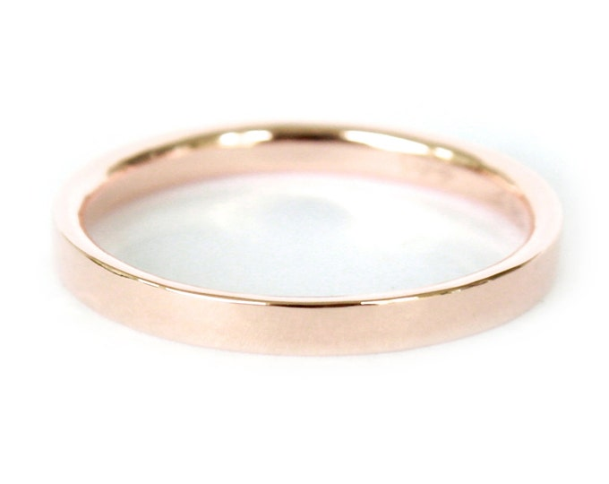 2mm 14K Band- 14K Solid Gold Ring- Flat Edge Wedding Band