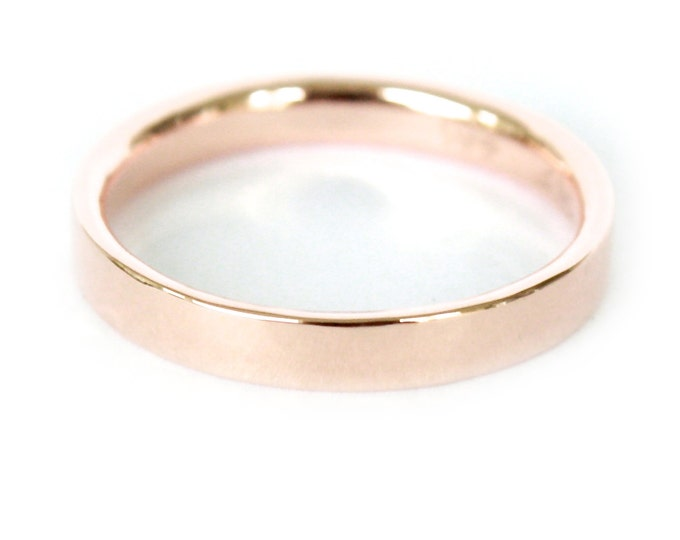 3mm 14K Band- 14K Solid Gold Ring- Flat Edge Wedding Band
