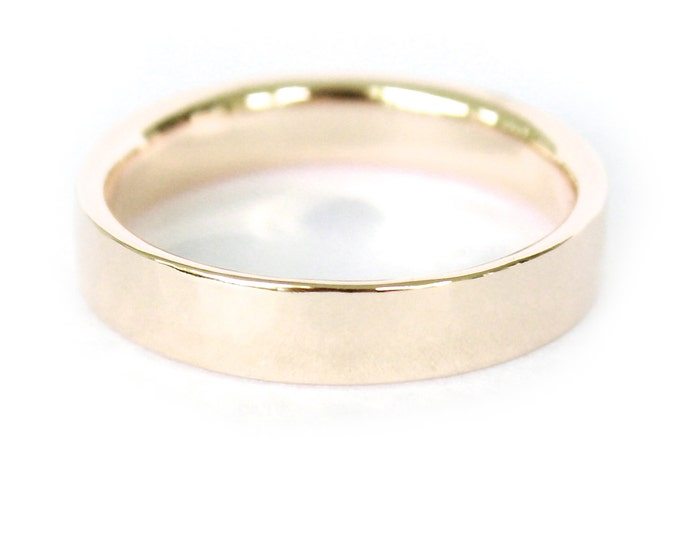 4mm 18K Band- 18K Solid Gold Ring- Flat Edge Wedding Band