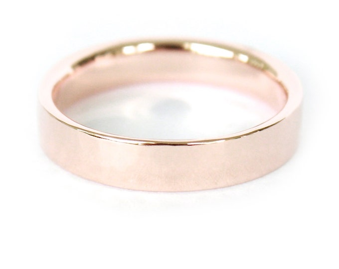 4mm 14K Band- 14K Solid Gold Ring- Flat Edge Wedding Band