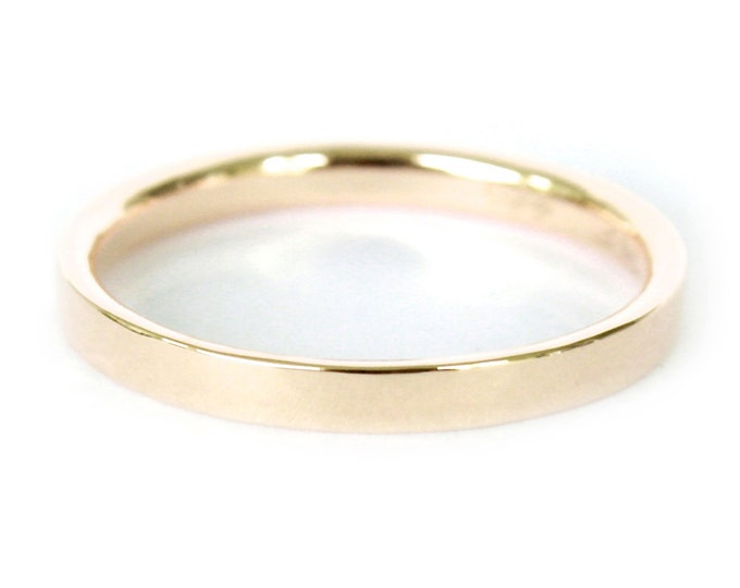 1.5mm 18K Band- 18K Solid Gold Ring- Flat Edge Wedding Band