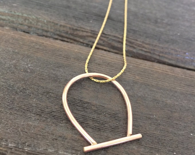 Single Stirrup Pendant on Adjustable Chain- 14K yellow or pink gold fill or sterling silver