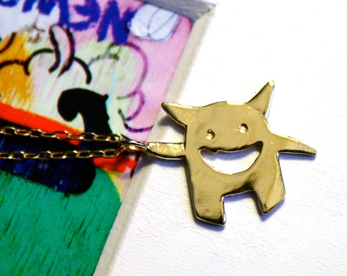 Monster Necklace- Solid 14K Gold Pendant Charm