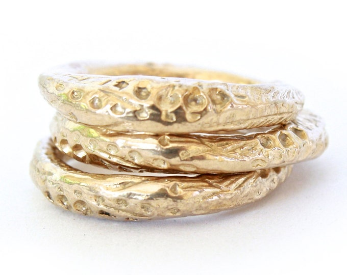 Peacock Thin Band- Chunky Stacking Band- bronze, silver or gold