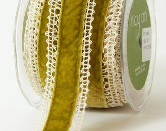 "May Arts 1 yard 1.5"" Crochet Velvet Ribbon 372"