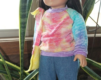For American Girl Dolls Rainbow  Sweatshirt outfit with embroideried pant legs