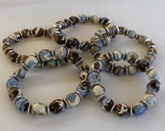 Blue Agateware Beaded Bracelet
