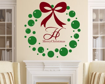 Christmas Wreath Vinyl Wall Decal