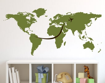 World Map Wall Decal with Plane Jetstream