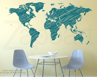 Hand Drawn World Map Wall Decals