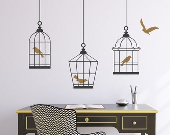 Art Wall Decal Birdcages Grouping Vinyl Wall Decal