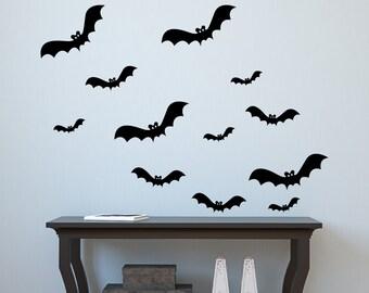 Halloween Wall decal Lot of 12 Bats Vinyl Wall Decal