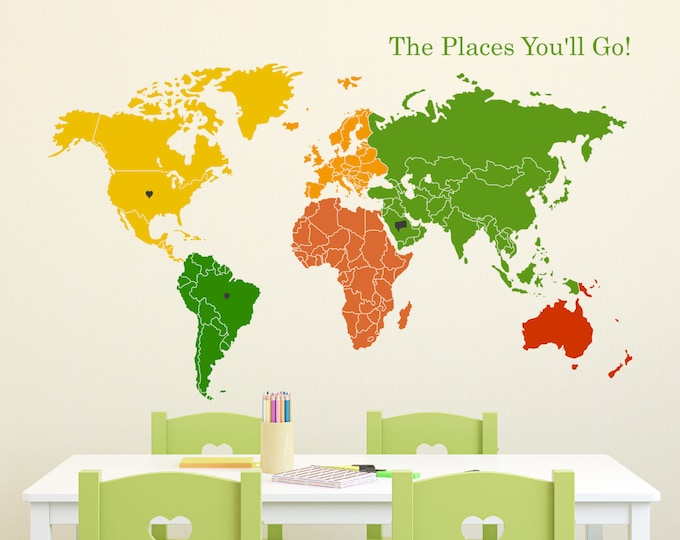 Featured listing image: World Map Wall Decal with Continents - Colorful World Map
