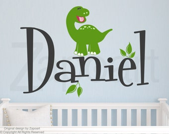 Dinosaur with Personalized Name Wall Decal