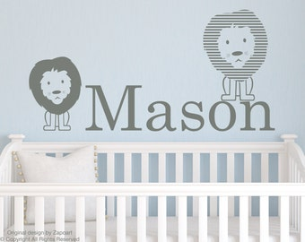 Lions with Personalized Name Wall Decal