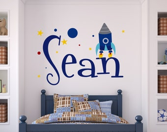 Children Wall Decal Rocket Personalized Name Vinyl Wall Decal