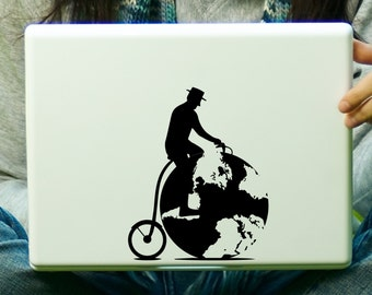 CLEARANCE Vintage Globe Bicycle Decal Laptop iPad Sticker