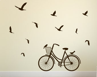 Bicycle Wall Decal with Free Flying Birds