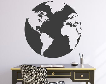 "Wall Decal 22""W Globe World Map Wall Vinyl Sticker"