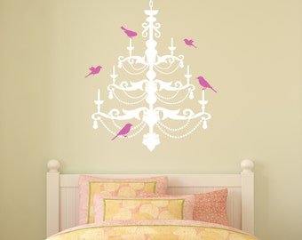 Wall Decal Chandelier with Birds