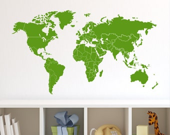 Wall Decal World Map with Countries Borders