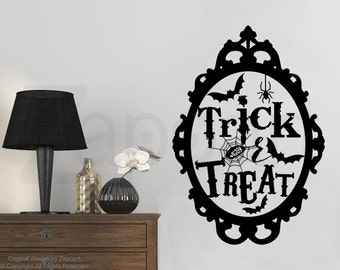 Halloween wall decal - Trick or Treat - Halloween Decor - Trick or Treat sign