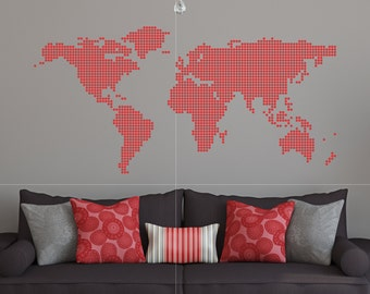 World Map Dot Pattern Wall Vinyl Decal Sticker