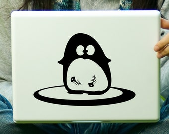 Penguin with Fish Sticker Decal Laptop Decal iPad