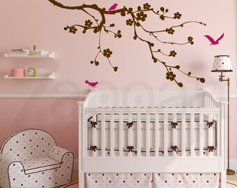 Cherry Blossom Branch with Birds -Wall Vinyl Decal