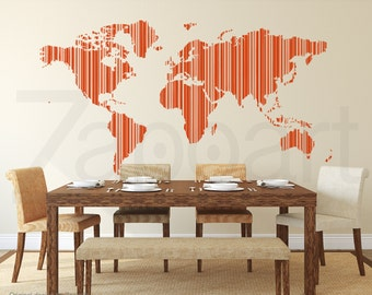 World Map Stripe Barcode Wall Decal