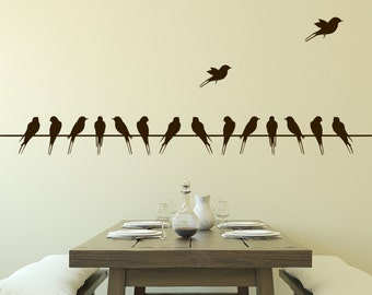 Wall Decal Birds on Wire Vinyl Wall Decal
