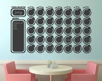 Chalkboard Wall Decal Calendar Wall Decal Memo with free chalk Vinyl Wall Decal