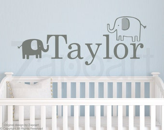 Elephants with Personalized Name Wall Decal