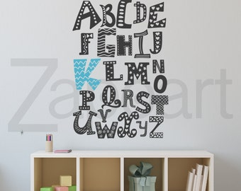 ABC Alphabet Wall Decal Custom Vinyl Art Stickers