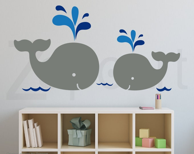 Featured listing image: Mom and Baby Whales Wall Decal