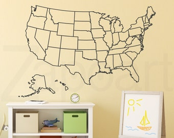 Outlined United States Map with Optional Fill in States Decal