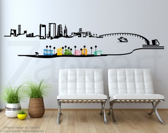 Miami Skyline Wall Decal Sticker